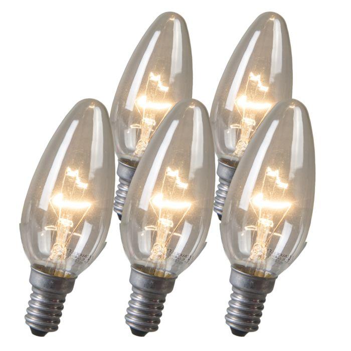 Set-of-5-Candle-Clear-E14-Bulbs-40W