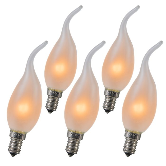 Set-of-5-E14-Frosted-Candle-Tip-10W