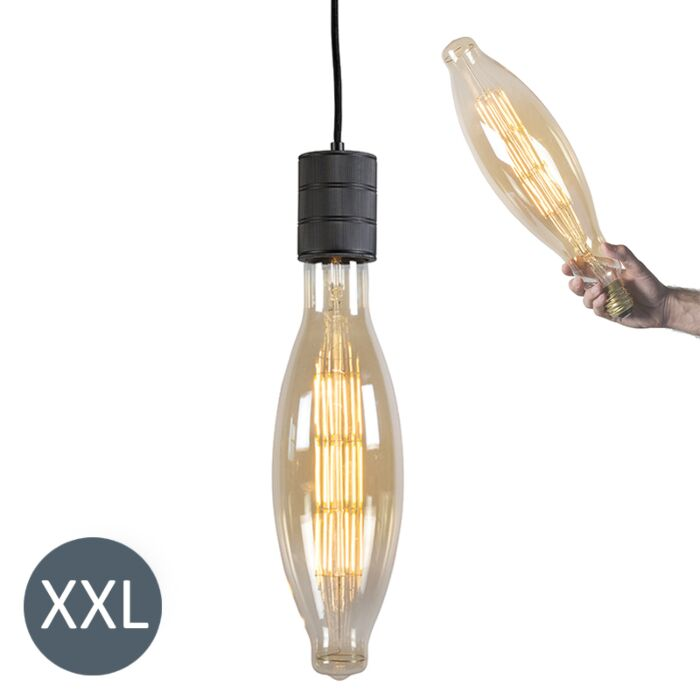 Pendant-Lamp-Elips-Black-with-Dimmable-LED-Bulb