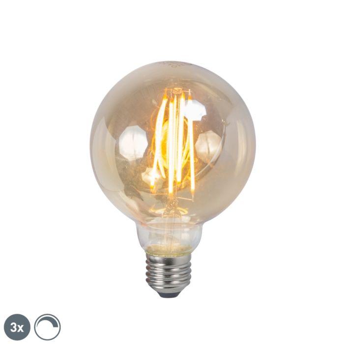 Set-of-3-E27-LED-Filament-Gold-Smoke-G95-5W-450LM