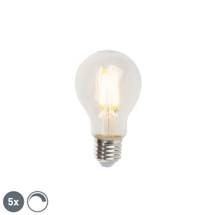 Set-of-5-E27-LED-A60-Clear-Filament-7W-806LM-2700K-Dimmable-