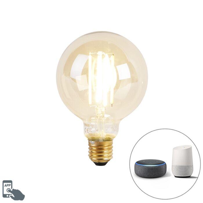 Smart-E27-dim-to-warm-LED-bulb-G95-goldline-7W-806-lm-1800K---3000K