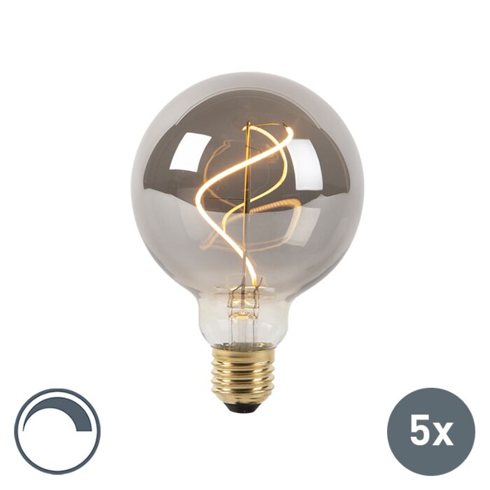 Set-of-5-E27-LED-G95-Smoke-4W-100LM-2100K-Dimmable