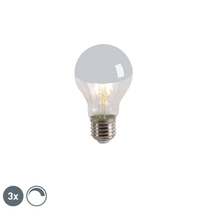 Set-of-3-E27-LED-A60-Silver-Mirror-Head-4W-300LM-2300K-Dimmable
