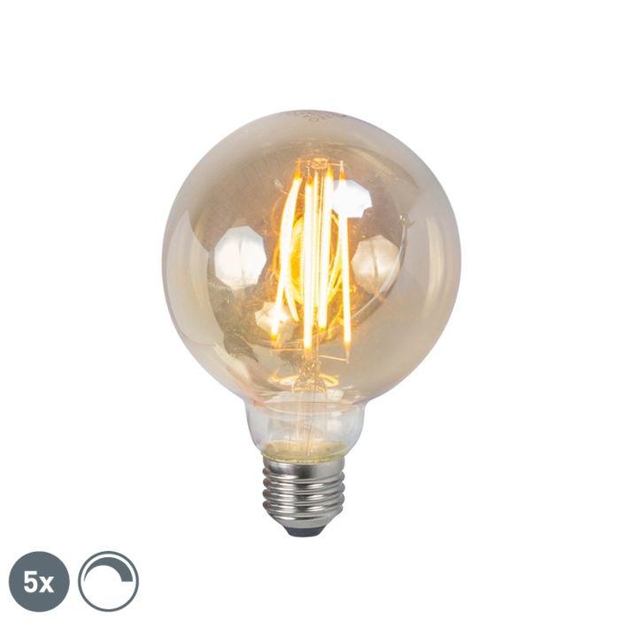 Set-of-5-E27-LED-Filament-Gold-Smoke-G95-5W-450LM
