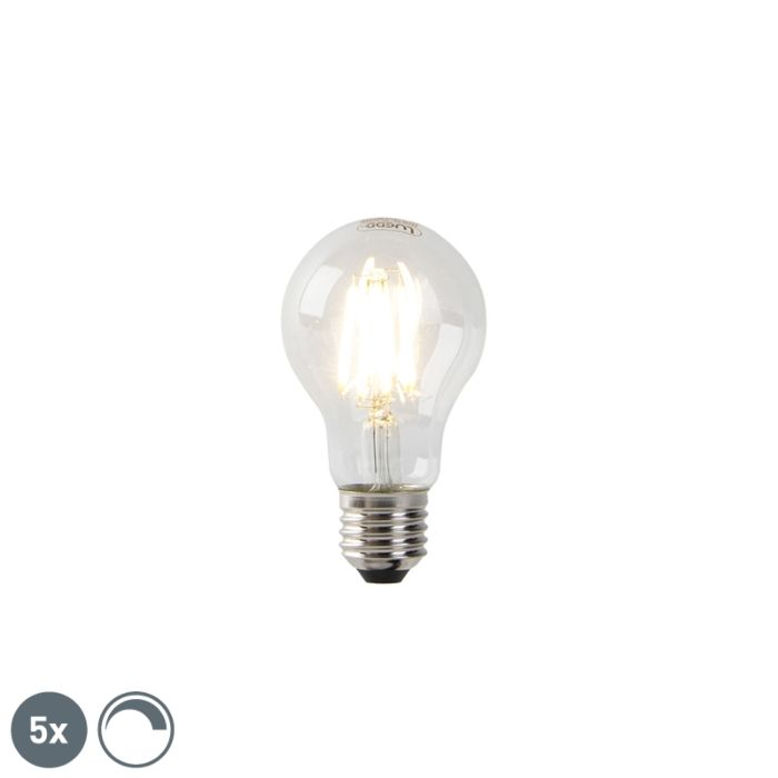 Set-of-5-dimmable-E27-LED-lamps-clear-glass-7W-806-lm-2700K