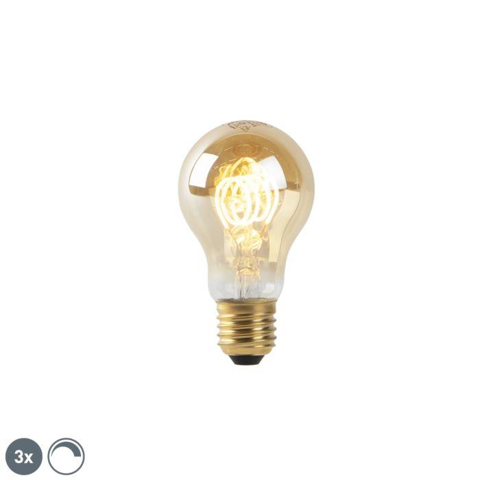 Set-of-3-E27-LED-A60-Gold-Twist-Filament-4W-200LM-2200K