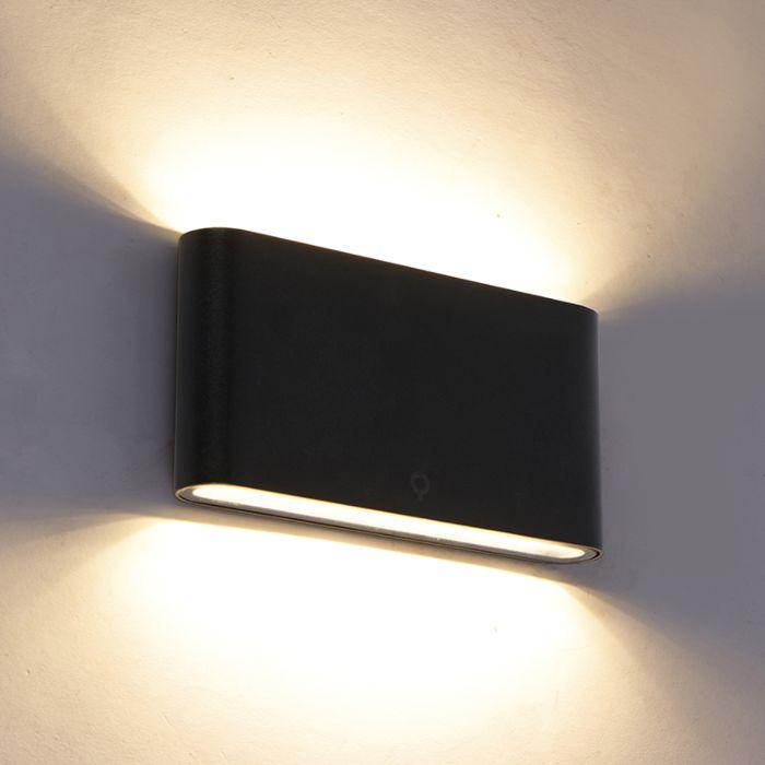 Modern-outdoor-wall-lamp-black-17.5-cm-incl.-LED-IP65---Batt
