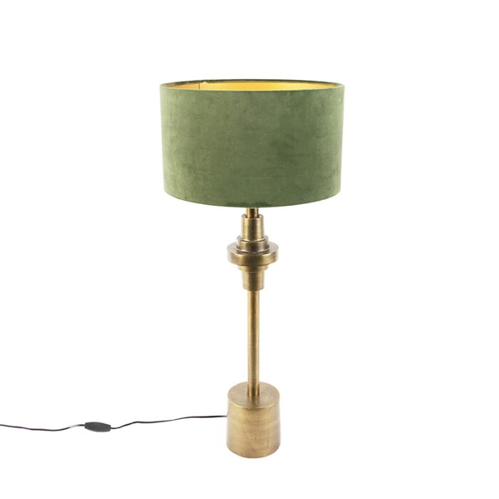 Art-deco-table-lamp-with-velor-shade-green-35-cm---Diverso