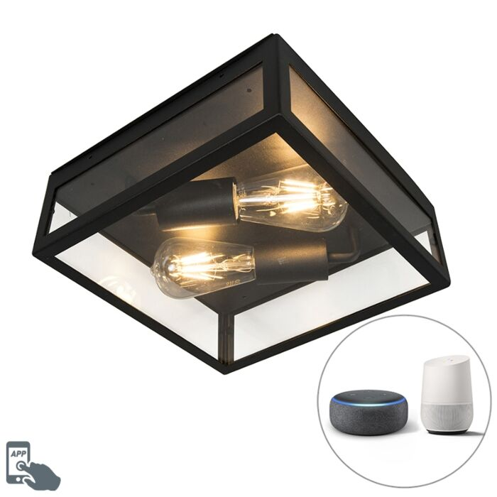 Industrial-smart-outdoor-ceiling-lamp-black-incl.-2-WiFi-ST64---Rotterdam