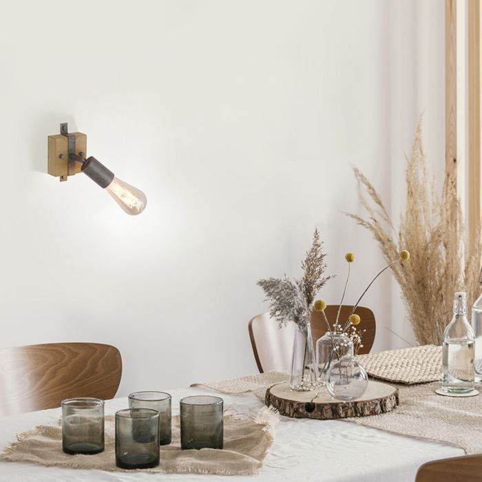 Country-wall-lamp-wood-with-steel-adjustable---Maris
