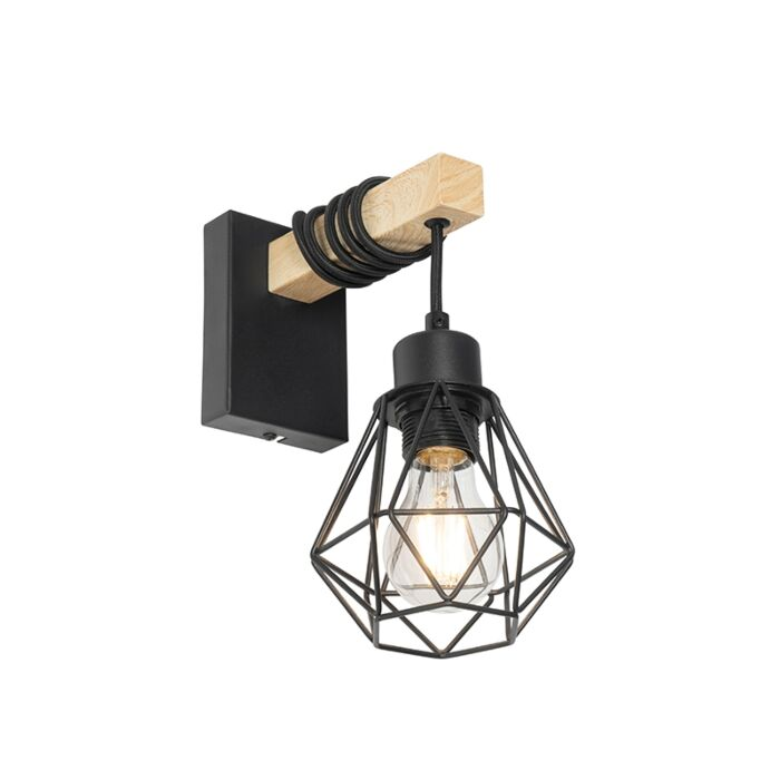 Country-wall-lamp-black-with-wood---Chon