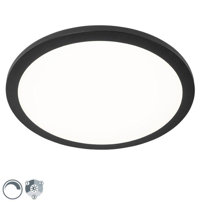 Ceiling-lamp-black-40-cm-incl.-LED-3-step-dimmable-IP44---Steve
