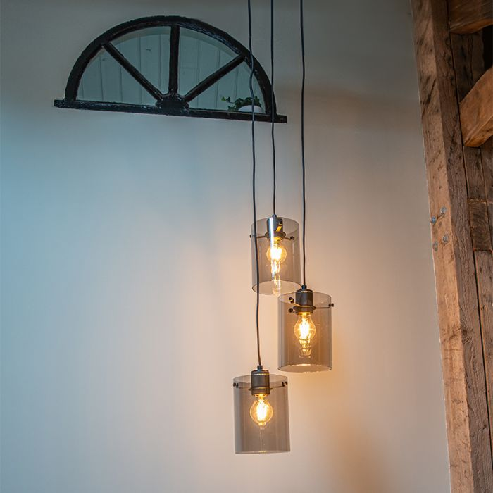 Design-hanging-lamp-black-with-smoke-glass-3-light---Dome