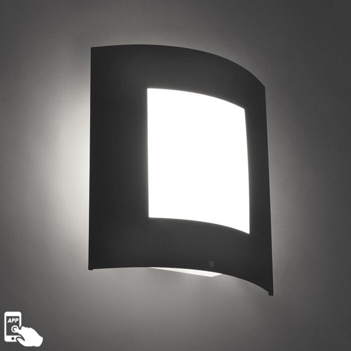 Smart-outdoor-wall-lamp-anthracite-incl.-WiFi-A60---Emmerald