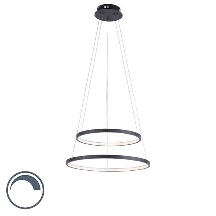 Modern-ring-pendant-lamp-anthracite-incl.-LED-dimmable---Anella-Duo
