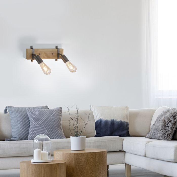 Wall-lamp-wood-with-steel-2-light-adjustable---Maris