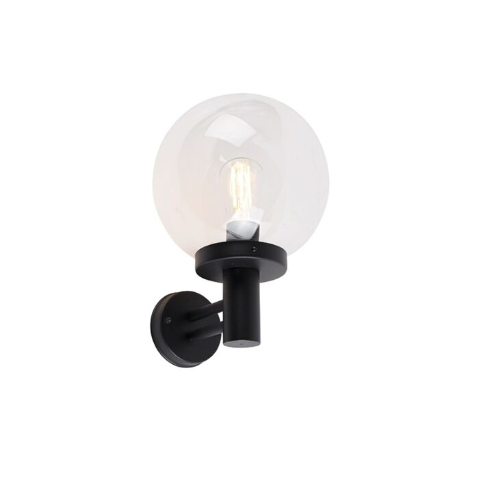 Outdoor-wall-lamp-black-with-plastic-IP44-stainless-steel---Sfera