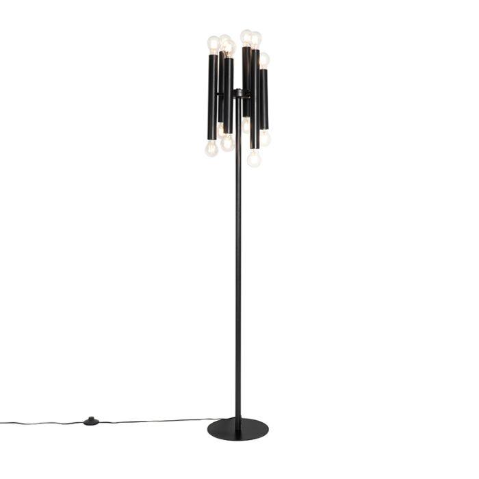 Art-Deco-floor-lamp-black-12-lights---Facil