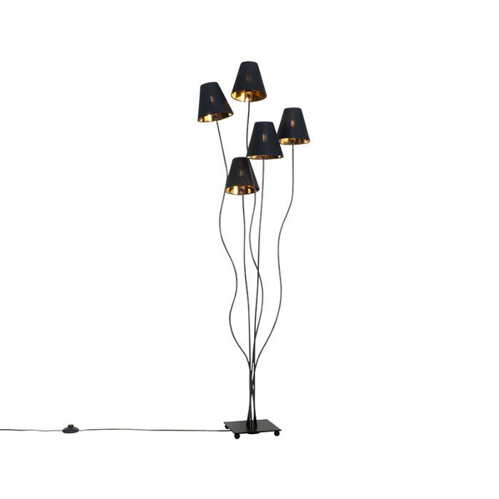 Design-floor-lamp-black-with-gold-5-lights---Melis