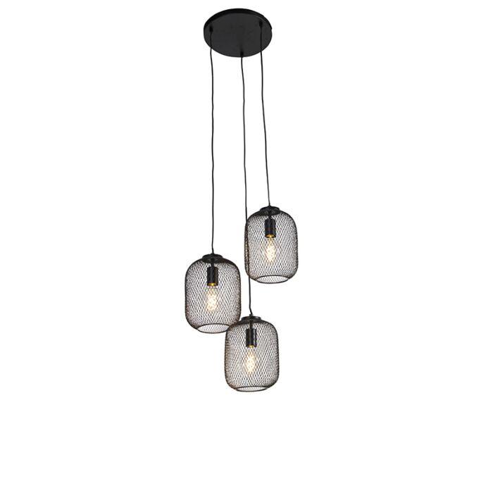 Industrial-hanging-lamp-black-45-cm-3-light---Bliss-Mesh