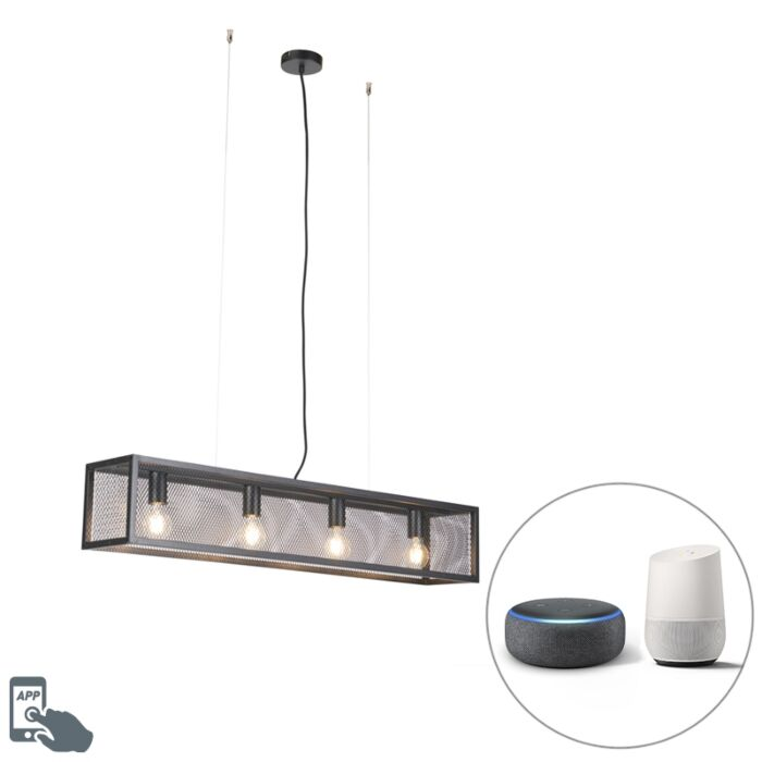 Smart-industrial-hanging-lamp-black-incl.-4-WiFi-A60---Cage