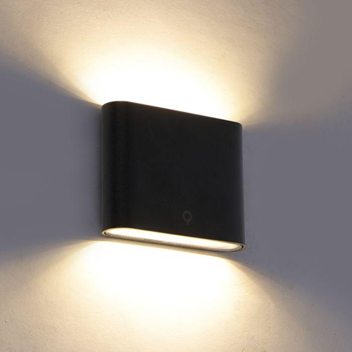 Modern-outdoor-wall-lamp-black-11.5-cm-incl.-LED-IP65---Batt
