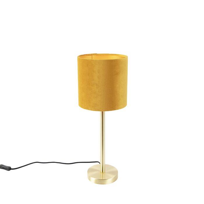 Vintage-Table-Lamp-Brass-with-20cm-Velvet-Ochre-Shade---Simplo
