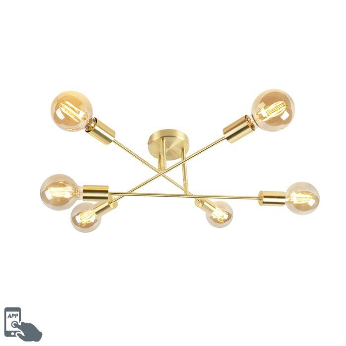 Smart-Art-Deco-ceiling-lamp-gold-incl.-6-WiFi-G95---Arc-Basic