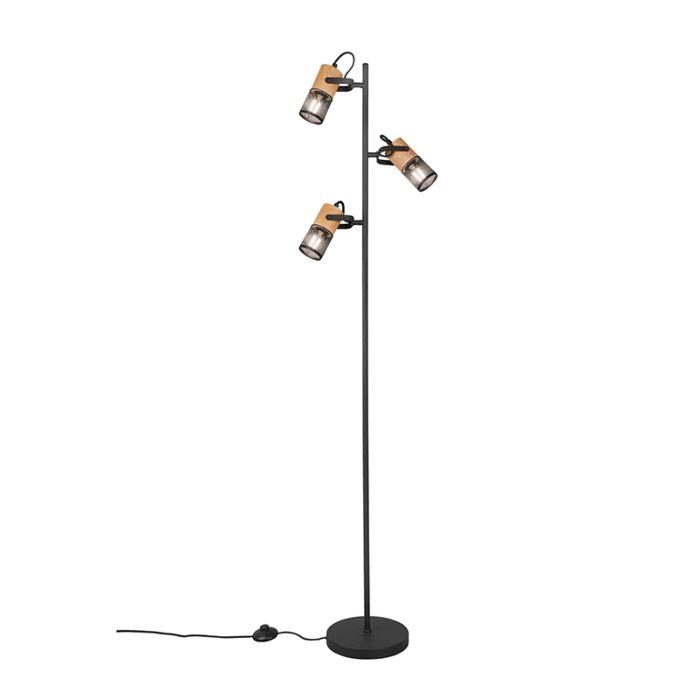 Industrial-floor-lamp-black-with-wood-3-light---Manon