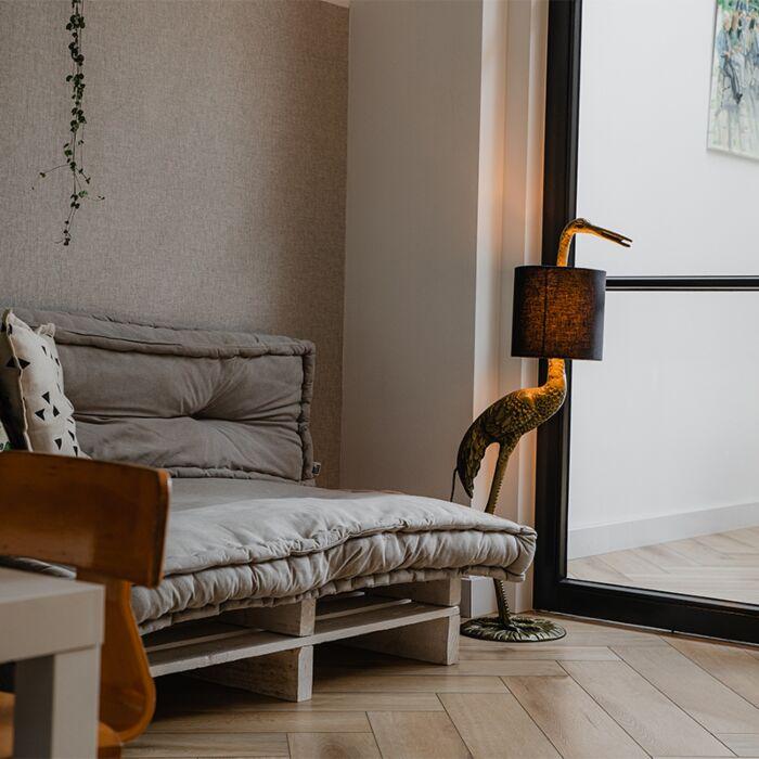 Vintage-floor-lamp-brass-fabric-shade-black---Crane-bird-To