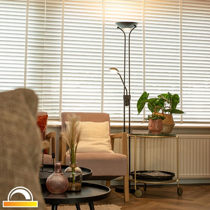 Modern-floor-lamp-black-with-reading-lamp-incl.-LED-dim-to-warm---Diva