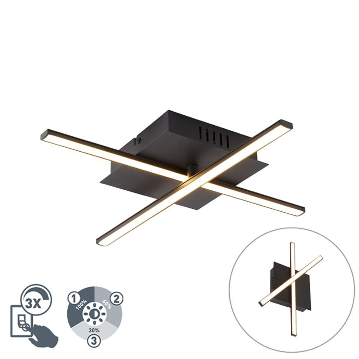 Modern-ceiling-lamp-black-incl.-LED-3-step-dimmable---Cruz