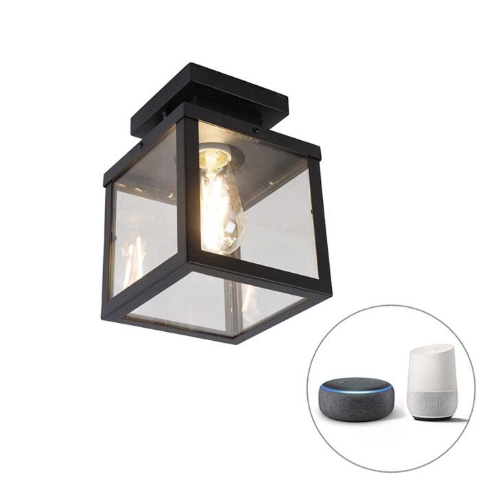 Industrial-smart-outdoor-ceiling-lamp-black-incl.-ST64-Wifi---Rotterdam
