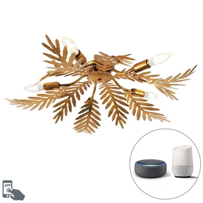 Vintage-Smart-ceiling-lamp-gold-incl.-5-WiFi-E14---Botanica