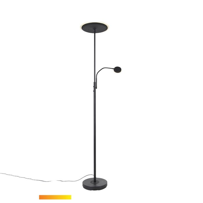 Modern-floor-lamp-black-incl.-LED-with-remote-control-and-reading-arm---Strela