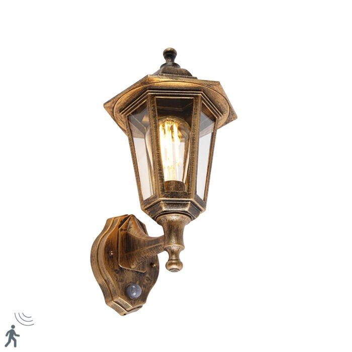 Classic-outdoor-wall-lamp-antique-gold-with-motion-sensor---New-Haven