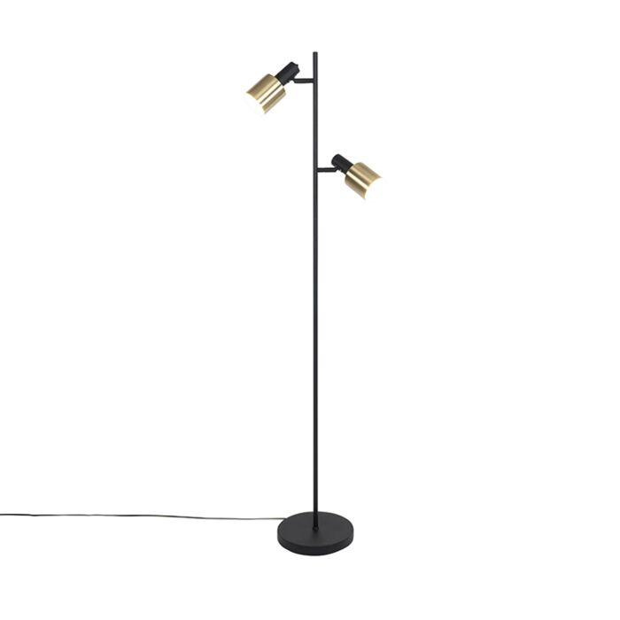 Design-floor-lamp-black-with-gold-2-lights---Lynn