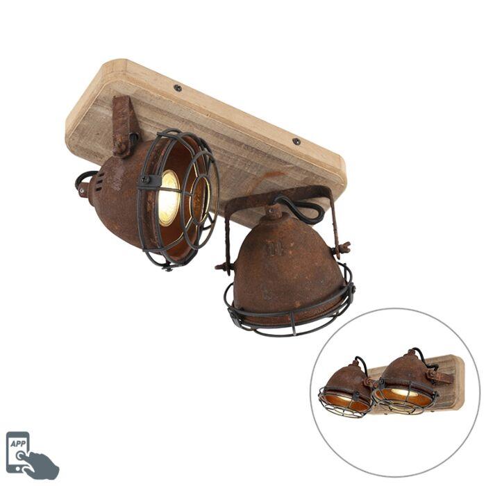 Smart-spot-rust-brown-with-wood-incl.-2-WiFi-GU10---Gina