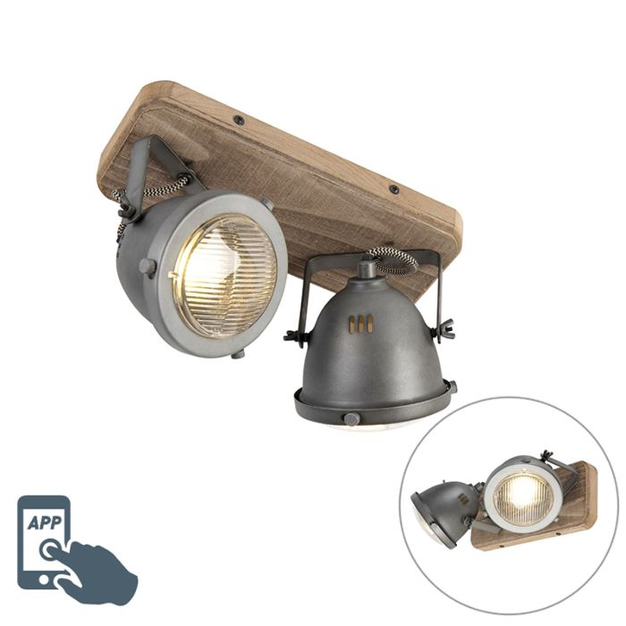 Industrial-smart-spot-gray-with-wood-incl.-2-WiFi-GU10---Emado