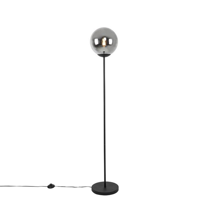 Art-Deco-floor-lamp-black-with-smoke-glass---Pallon-Mezzi
