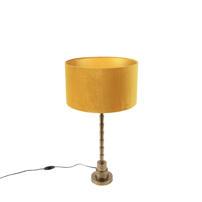 Art-deco-table-lamp-with-velor-shade-yellow-35-cm---Pisos