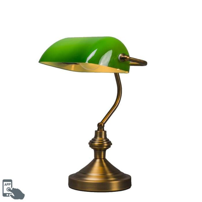 Smart-classic-table-lamp-bronze-with-green-glass-incl.-Wifi-A60---Banker