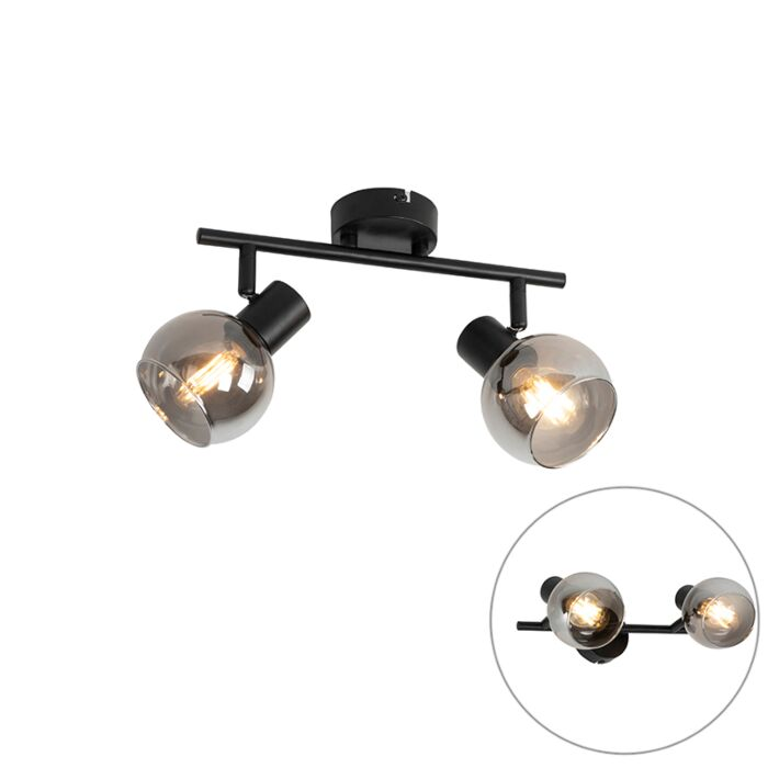 Art-Deco-ceiling-lamp-black-with-smoke-glass-2-light---Vidro