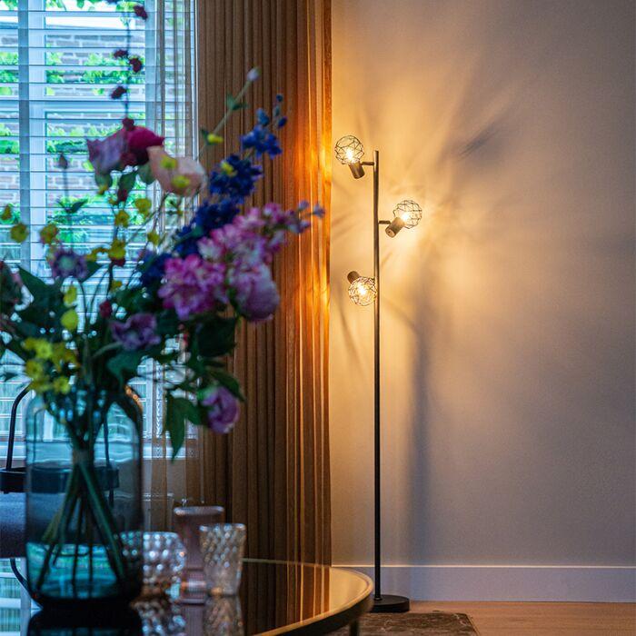 Design-floor-lamp-black-3-light-adjustable---Mesh
