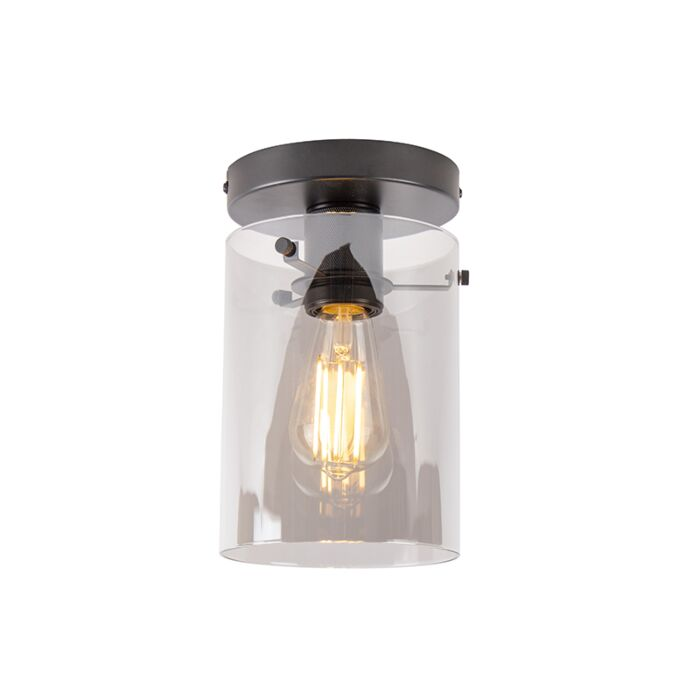 Design-ceiling-lamp-black-with-smoke-glass---Dome