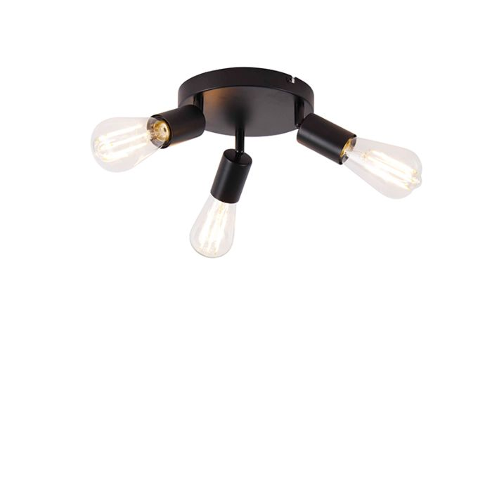 Modern-ceiling-lamp-black-3-light-round---Facil