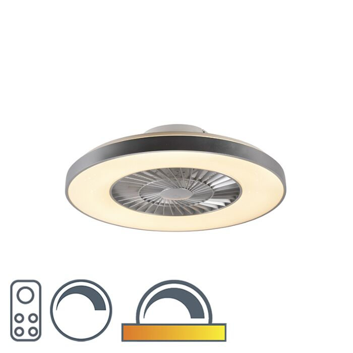 Ceiling-fan-silver-with-star-effect-dimmable---Climo