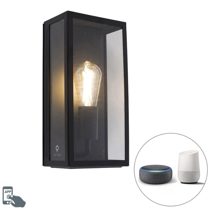 Smart-outdoor-wall-lamp-black-incl.-WiFi-ST64-IP44---Rotterdam