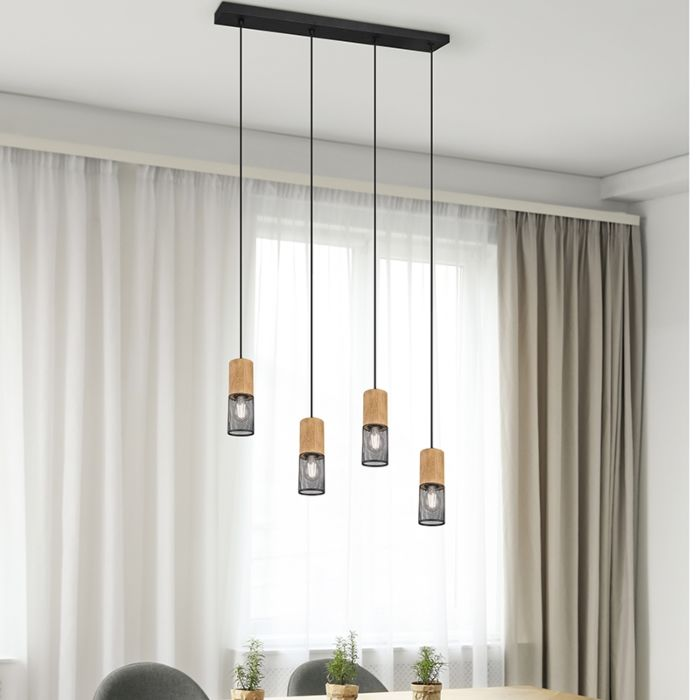 Industrial-hanging-lamp-black-with-wood-4-light---Manon